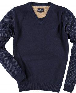 Fellows Pullover V-Hals Blauw Grijs Print